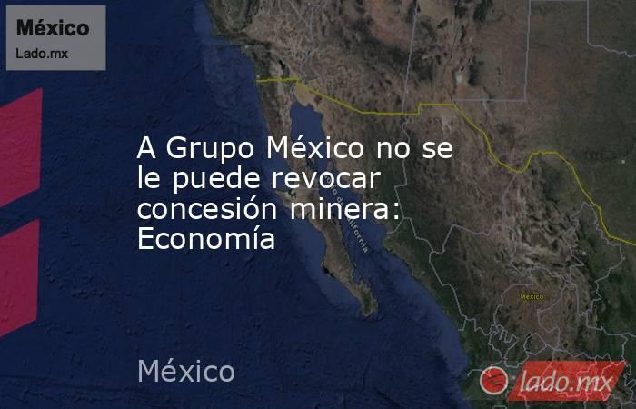 A Grupo México no se le puede revocar concesión minera: Economía. Noticias en tiempo real