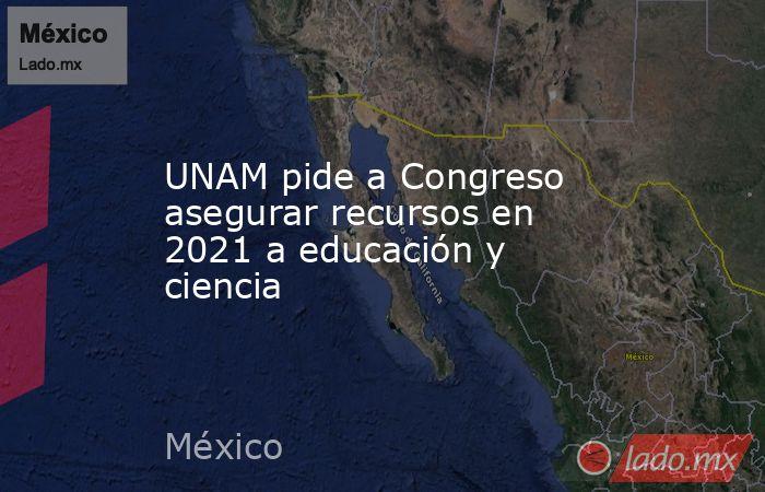 UNAM pide a Congreso asegurar recursos en 2021 a educación y ciencia. Noticias en tiempo real