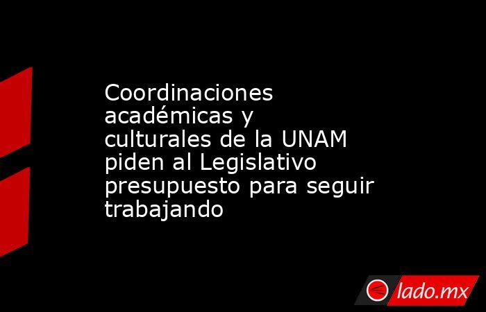 Coordinaciones académicas y culturales de la UNAM piden al Legislativo presupuesto para seguir trabajando. Noticias en tiempo real