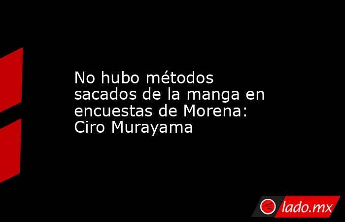 No hubo métodos sacados de la manga en encuestas de Morena: Ciro Murayama. Noticias en tiempo real
