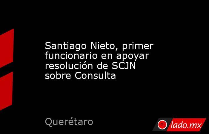 Santiago Nieto, primer funcionario en apoyar resolución de SCJN sobre Consulta. Noticias en tiempo real