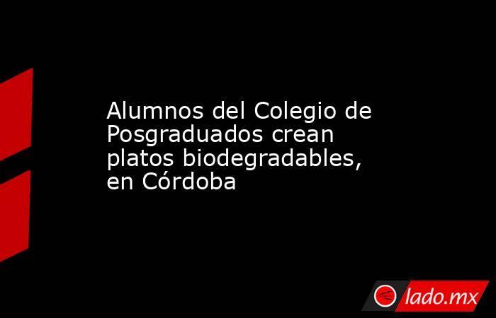 Alumnos del Colegio de Posgraduados crean platos biodegradables, en Córdoba. Noticias en tiempo real