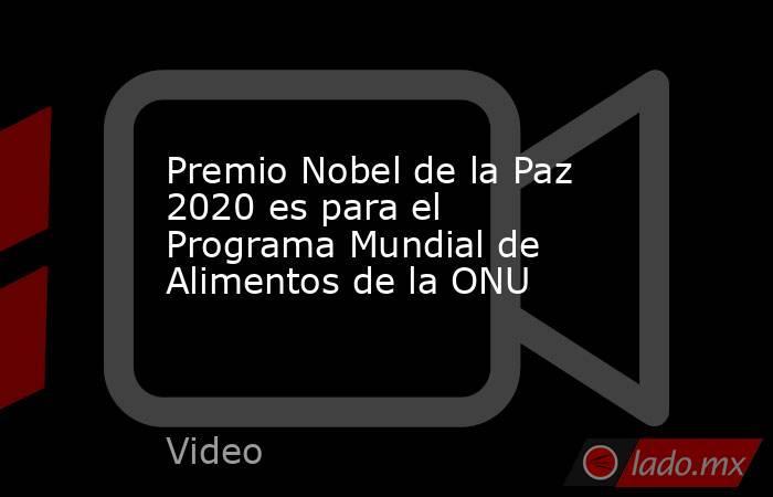 Premio Nobel de la Paz 2020 es para el Programa Mundial de Alimentos de la ONU. Noticias en tiempo real