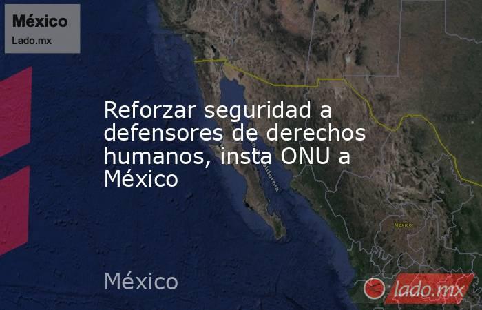 Reforzar seguridad a defensores de derechos humanos, insta ONU a México. Noticias en tiempo real
