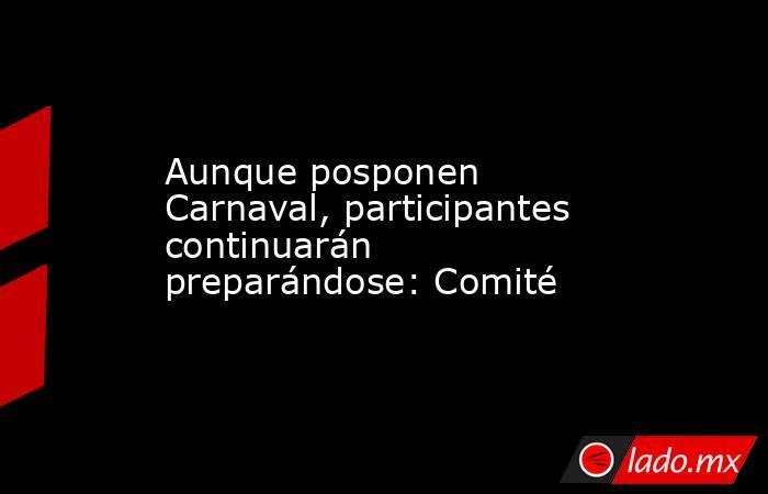 Aunque posponen Carnaval, participantes continuarán preparándose: Comité. Noticias en tiempo real