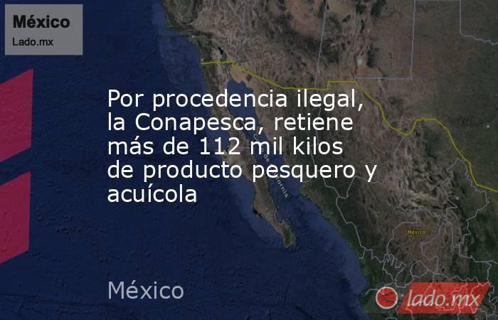 Por procedencia ilegal, la Conapesca, retiene más de 112 mil kilos de producto pesquero y acuícola. Noticias en tiempo real