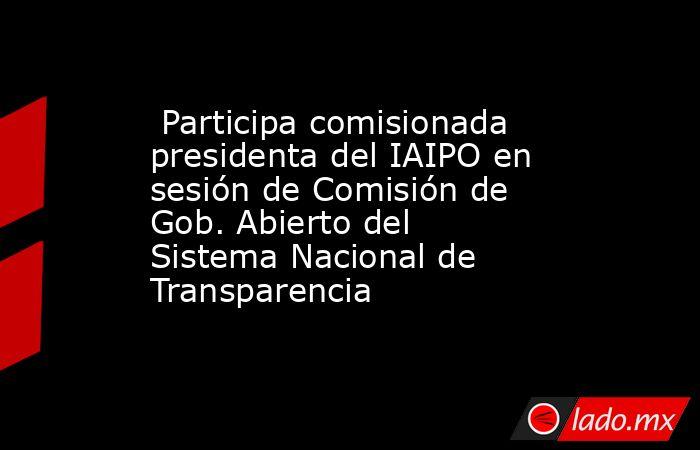 Participa comisionada presidenta del IAIPO en sesión de Comisión de Gob. Abierto del Sistema Nacional de Transparencia. Noticias en tiempo real