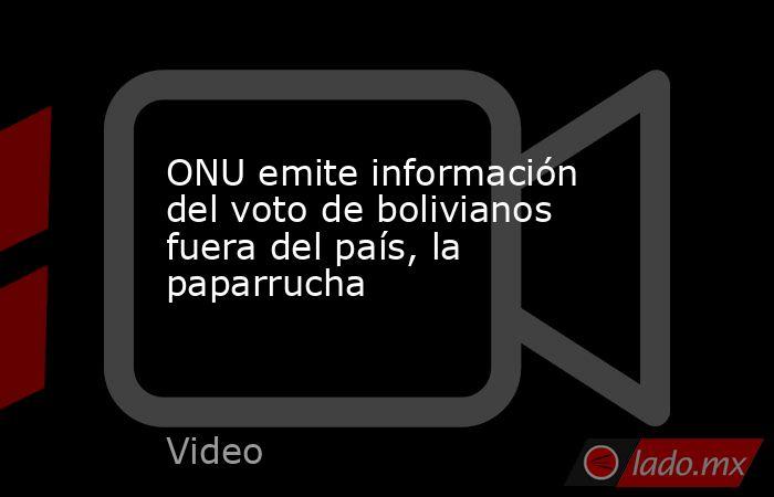 ONU emite información del voto de bolivianos fuera del país, la paparrucha. Noticias en tiempo real