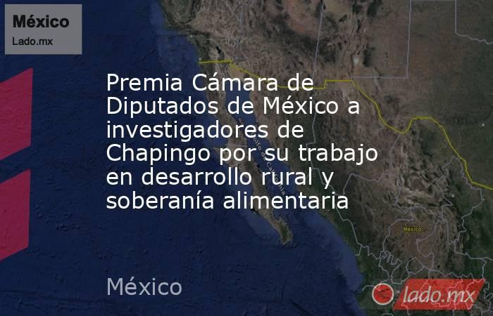 Premia Cámara de Diputados de México a investigadores de Chapingo por su trabajo en desarrollo rural y soberanía alimentaria. Noticias en tiempo real