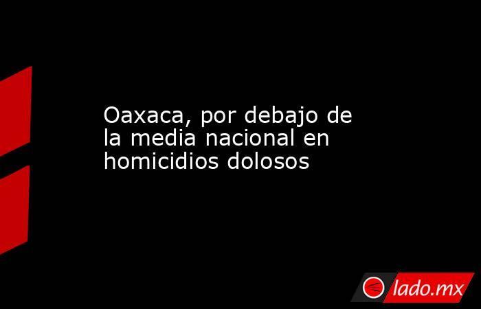 Oaxaca, por debajo de la media nacional en homicidios dolosos. Noticias en tiempo real