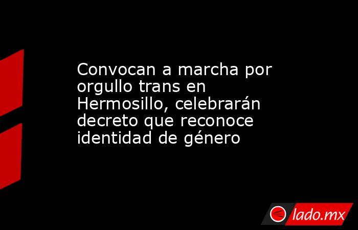 Convocan a marcha por orgullo trans en Hermosillo, celebrarán decreto que reconoce identidad de género. Noticias en tiempo real