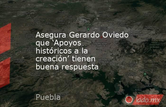 Asegura Gerardo Oviedo que 'Apoyos históricos a la creación' tienen buena respuesta. Noticias en tiempo real