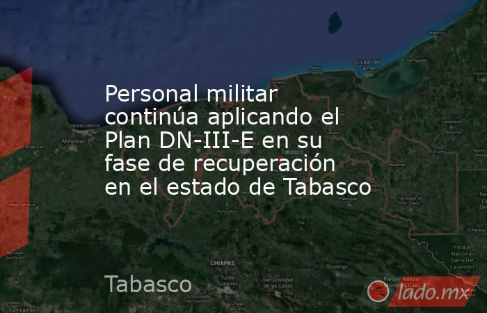 Personal militar continúa aplicando el Plan DN-III-E en su fase de recuperación en el estado de Tabasco. Noticias en tiempo real