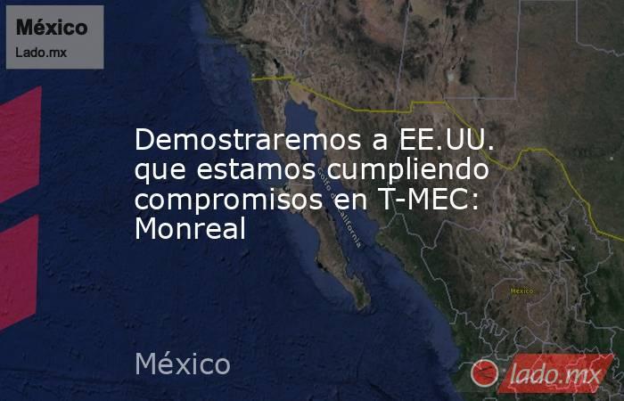 Demostraremos a EE.UU. que estamos cumpliendo compromisos en T-MEC: Monreal. Noticias en tiempo real