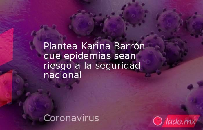 Plantea Karina Barrón que epidemias sean riesgo a la seguridad nacional. Noticias en tiempo real