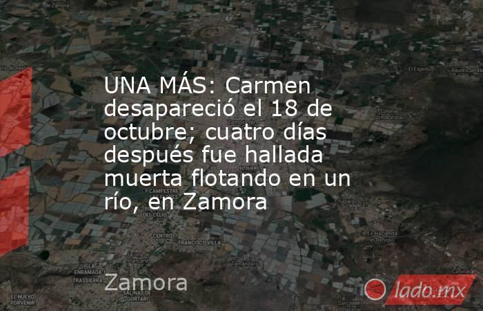 UNA MÁS: Carmen desapareció el 18 de octubre; cuatro días después fue hallada muerta flotando en un río, en Zamora. Noticias en tiempo real