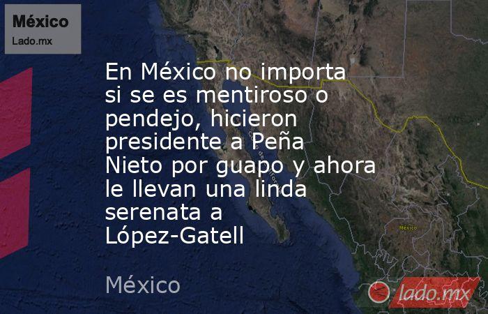 En México no importa si se es mentiroso o pendejo, hicieron presidente a Peña Nieto por guapo y ahora le llevan una linda serenata a López-Gatell. Noticias en tiempo real