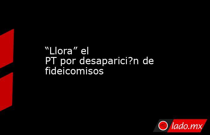 """""""Llora"""" el PT por desaparici?n de fideicomisos. Noticias en tiempo real"""