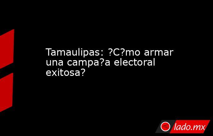 Tamaulipas: ?C?mo armar una campa?a electoral exitosa?. Noticias en tiempo real