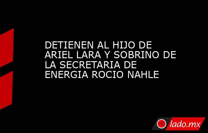 DETIENEN AL HIJO DE  ARIEL LARA Y SOBRINO DE LA SECRETARIA DE ENERGIA ROCIO NAHLE. Noticias en tiempo real