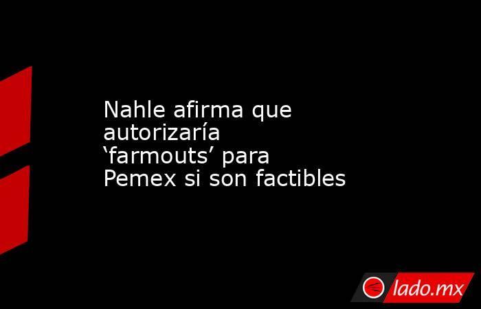 Nahle afirma que autorizaría 'farmouts' para Pemex si son factibles. Noticias en tiempo real