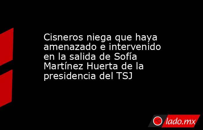 Cisneros niega que haya amenazado e intervenido en la salida de Sofía Martínez Huerta de la presidencia del TSJ. Noticias en tiempo real