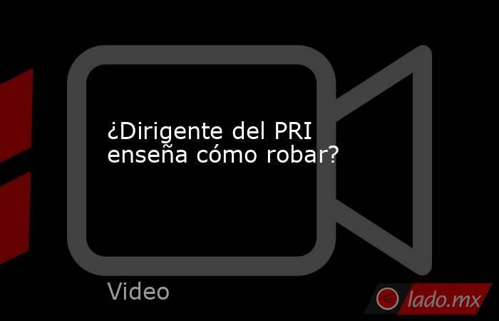 ¿Dirigente del PRI enseña cómo robar?. Noticias en tiempo real