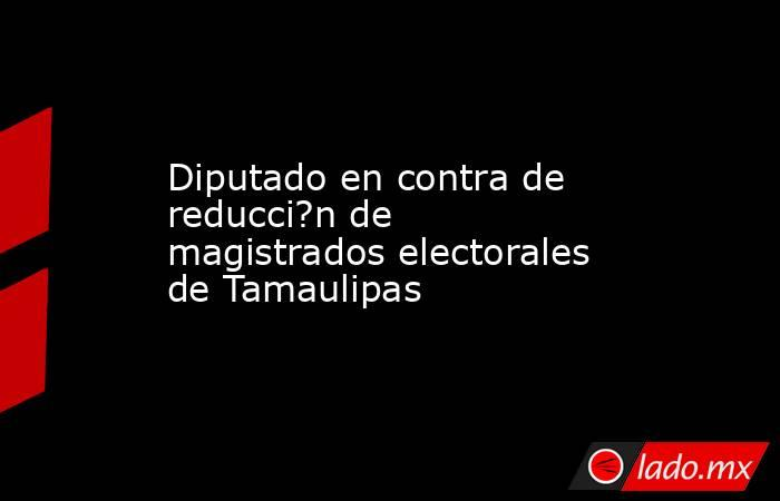 Diputado en contra de reducci?n de magistrados electorales de Tamaulipas. Noticias en tiempo real
