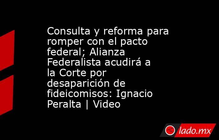 Consulta y reforma para romper con el pacto federal; Alianza Federalista acudirá a la Corte por desaparición de fideicomisos: Ignacio Peralta | Video. Noticias en tiempo real