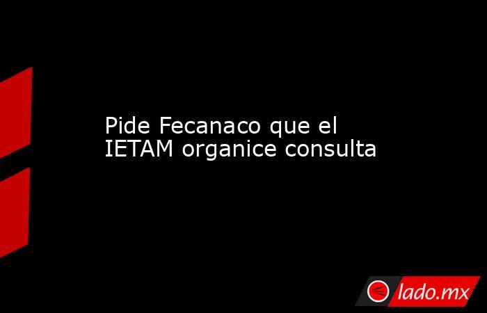 Pide Fecanaco que el IETAM organice consulta. Noticias en tiempo real
