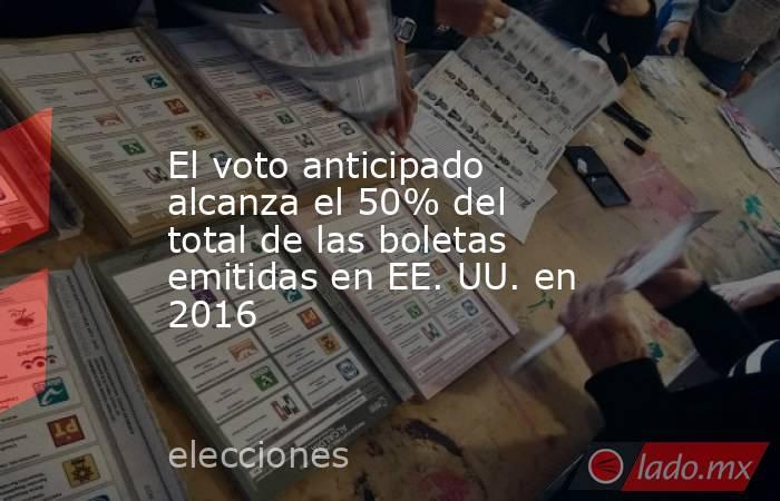 El voto anticipado alcanza el 50% del total de las boletas emitidas en EE. UU. en 2016. Noticias en tiempo real
