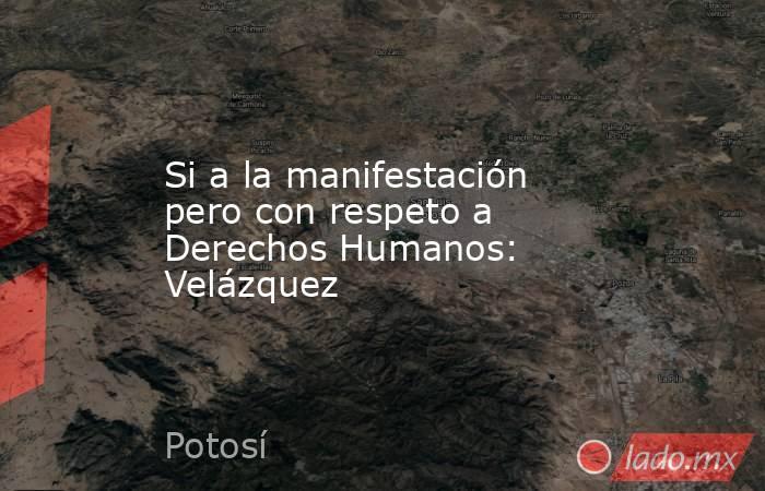 Si a la manifestación pero con respeto a Derechos Humanos: Velázquez. Noticias en tiempo real