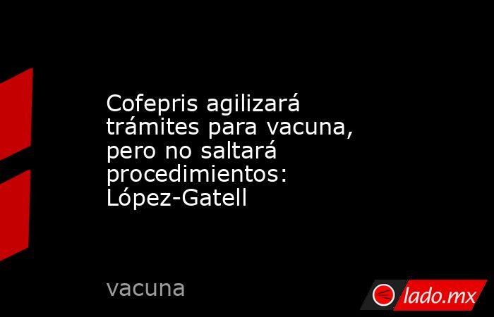 Cofepris agilizará trámites para vacuna, pero no saltará procedimientos: López-Gatell. Noticias en tiempo real