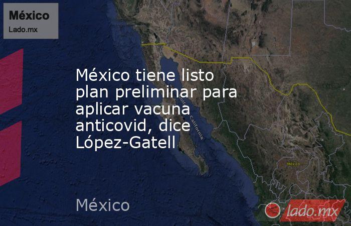 México tiene listo plan preliminar para aplicar vacuna anticovid, dice López-Gatell. Noticias en tiempo real