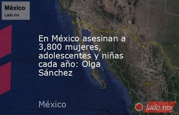 En México asesinan a 3,800 mujeres, adolescentes y niñas cada año: Olga Sánchez. Noticias en tiempo real