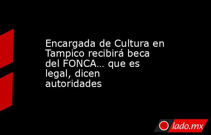 Encargada de Cultura en Tampico recibirá beca del FONCA… que es legal, dicen autoridades. Noticias en tiempo real