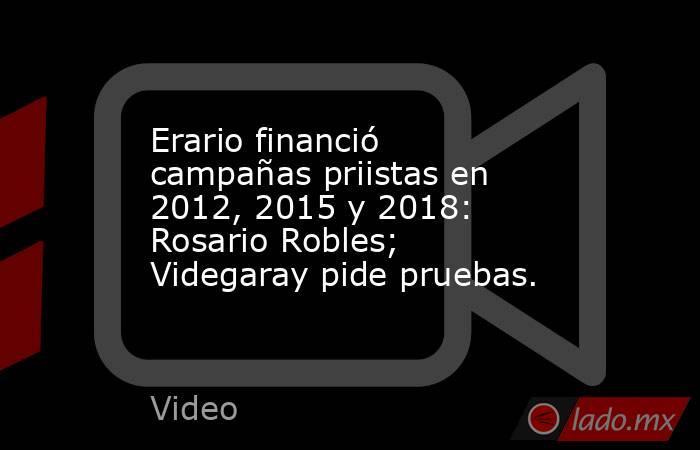 Erario financió campañas priistas en 2012, 2015 y 2018: Rosario Robles; Videgaray pide pruebas.. Noticias en tiempo real