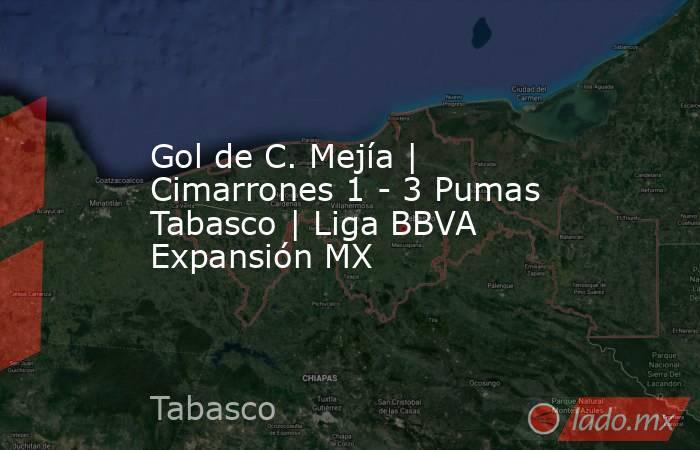 Gol de C. Mejía | Cimarrones 1 - 3 Pumas Tabasco | Liga BBVA Expansión MX. Noticias en tiempo real