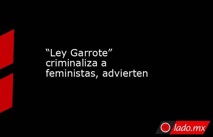 """""""Ley Garrote"""" criminaliza a feministas, advierten. Noticias en tiempo real"""