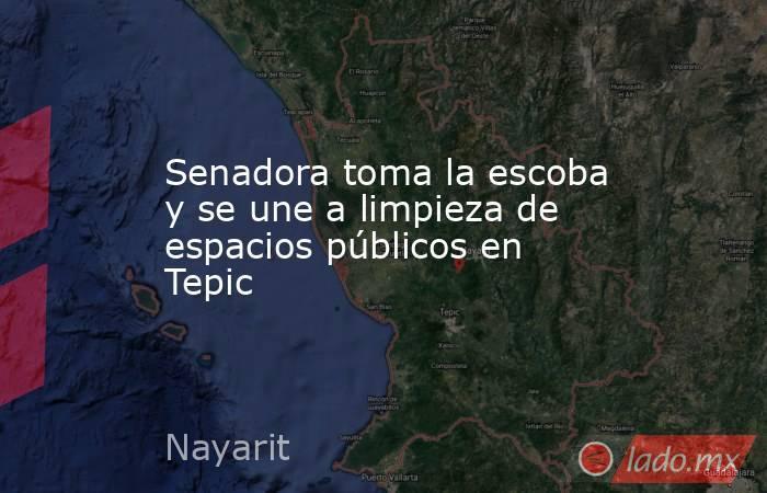 Senadora toma la escoba y se une a limpieza de espacios públicos en Tepic. Noticias en tiempo real