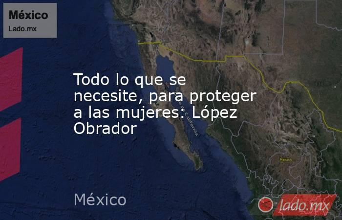 Todo lo que se necesite, para proteger a las mujeres: López Obrador. Noticias en tiempo real