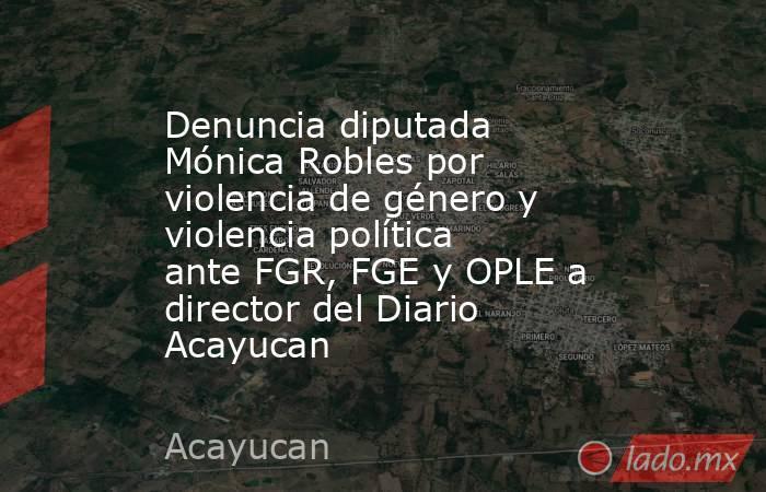 Denuncia diputada Mónica Robles por violencia de género y violencia política ante FGR, FGE y OPLE a director del Diario Acayucan. Noticias en tiempo real