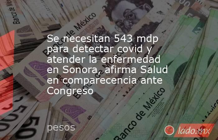 Se necesitan 543 mdp para detectar covid y atender la enfermedad en Sonora, afirma Salud en comparecencia ante Congreso. Noticias en tiempo real