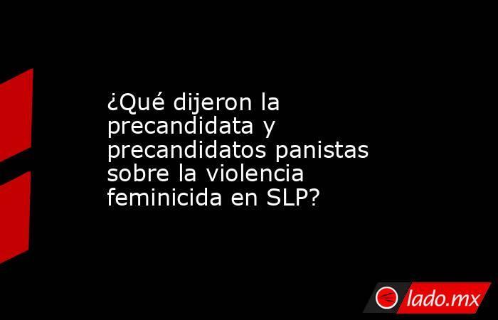 ¿Qué dijeron la precandidata y precandidatos panistas sobre la violencia feminicida en SLP?. Noticias en tiempo real