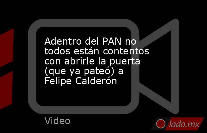 Adentro del PAN no todos están contentos con abrirle la puerta (que ya pateó) a Felipe Calderón. Noticias en tiempo real