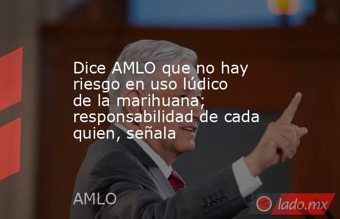 Dice AMLO que no hay riesgo en uso lúdico de la marihuana; responsabilidad de cada quien, señala. Noticias en tiempo real