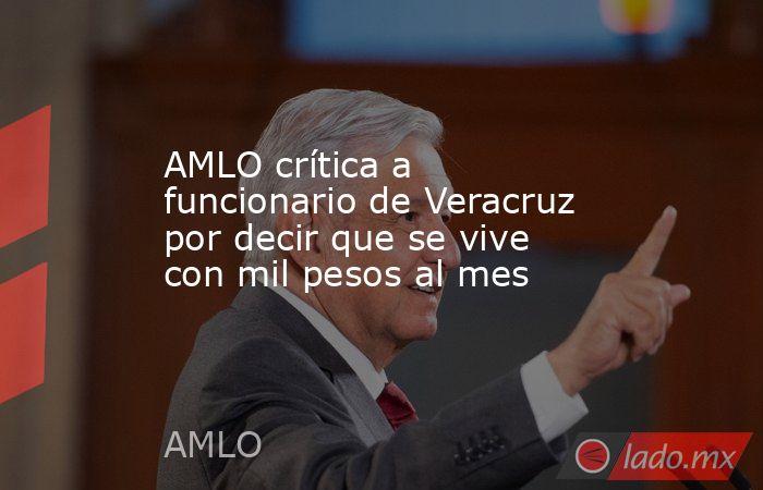 AMLO crítica a funcionario de Veracruz por decir que se vive con mil pesos al mes. Noticias en tiempo real
