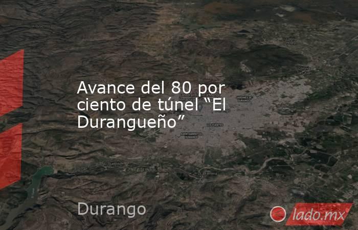 """Avance del 80 por ciento de túnel """"El Durangueño"""". Noticias en tiempo real"""