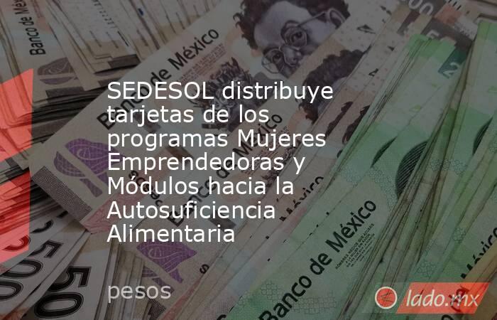 SEDESOL distribuye tarjetas de los programas Mujeres Emprendedoras y Módulos hacia la Autosuficiencia Alimentaria. Noticias en tiempo real
