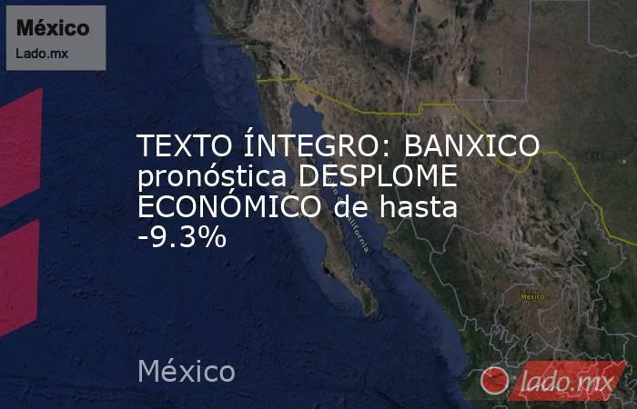 TEXTO ÍNTEGRO: BANXICO pronóstica DESPLOME ECONÓMICO de hasta -9.3%. Noticias en tiempo real